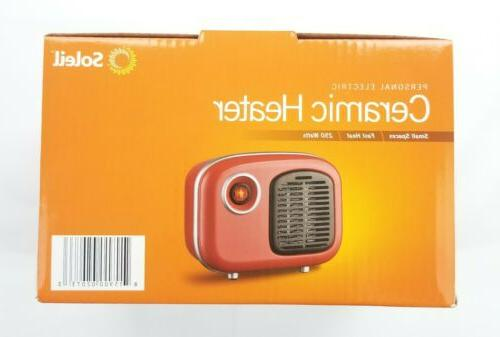 Soleil Personal Ceramic Heater Retro Style 250W Indoor Red M